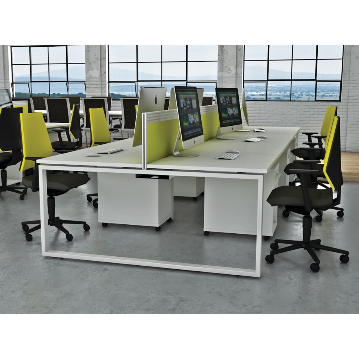 White Office Desk Dual Ibench 06 Office Furniture London